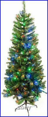 7Ft Green Pre-Lit Slim Christmas Decoration Tree With 240 LED Multi Colour Light