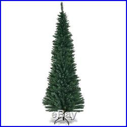 7Ft PVC Artificial Pencil Christmas Tree Slim with Stand Home Holiday Decor Green