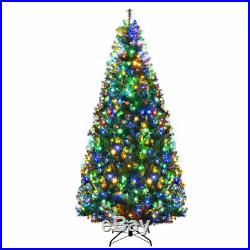7Ft Pre-Lit Artificial Christmas Tree Hinged with 500 LED Lights & Stand Holiday