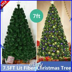 7.5FT Lit Fiber Optic Artificial Christmas Tree Colorful with 260 Led Lights Decor