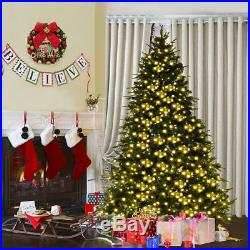 7.5Ft Pre-Lit Artificial Christmas Tree Hinged with 540 LED Lights & Pine Cones