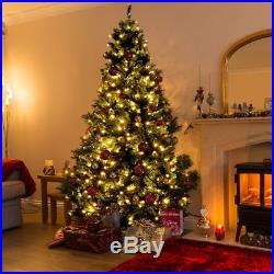7.5Ft Pre-Lit PVC Dense Christmas Tree Hinged with 750 LED Light & Stand Green