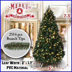 7.5′ Artificial Christmas Tree w 2514 Branch Tips 750 LED Pre-lit Tall Fir Green
