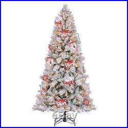 7.5′ Artificial Northern Estate White Flocked Christmas Tree with Lights -Open Box