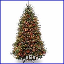 7.5 Feet Pre-lit Christmas Tree 750 Multicolor Lights Artificial Xmas Green Fir