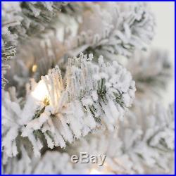 7.5' Flocked Covington Fir Green Artificial Christmas Tree Pre-Lit Berries Cones