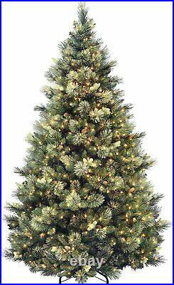 7.5 Foot Carolina Pine Christmas Tree with Flocked Cones 750 Clear Lights Hinged
