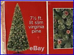 7.5 Foot Pre-Lit Artificial Christmas Tree Slim Virginia Pine 400 Clear Lights