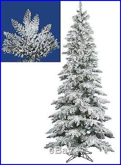 7.5′ Pre-Lit Snow Flocked Layered Utica Slim Christmas Tree Clear LED Lights