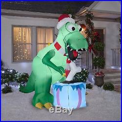 7.5′ SANTA T-REX DINOSAUR CHRISTMAS Airblown Inflatable Gemmy Yard Decor Prop