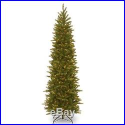 7.5 ft. Feel-Real Grande Fir Hinged Pre-Lit Slim Christmas Tree, Green