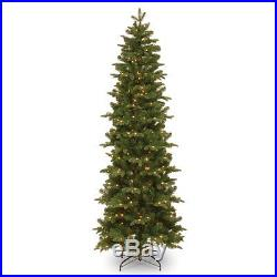 7.5 ft. Feel-Real Prescott Hinged Pre-Lit Slim Christmas Tree, Green
