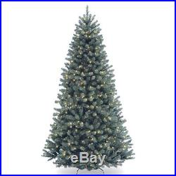 7.5 ft. North Valley Spruce Hinged Christmas Tree Clear, Blue