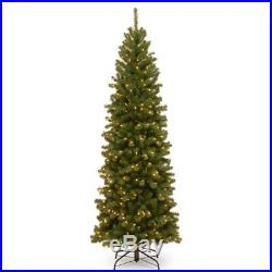 7.5 ft. North Valley Spruce Hinged Pre-Lit Slim Christmas Tree, Green