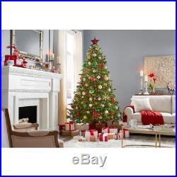 7.5 ft. Pre-Lit LED Elegant Natural Fir Quick Set Artificial Christmas Tree