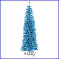 7.5 ft. Pre-Lit Sparkling Sky Blue Artificial Pencil Christmas Tree Blue Lights