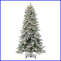 7.5 ft. Pre-lit Flocked Monteray Pine Christmas Tree with Snow Clumps by