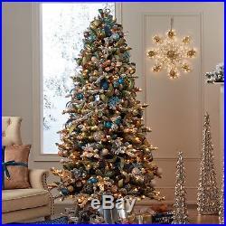 7.5 ft Prelit Warm White LED Lights ASPEN PINE Flocked Quick Set Christmas Tree