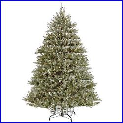 7.5′ ft x 61 Wide Green Frosted Hampton Christmas Holiday Tree withClear Lights