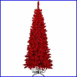 7.5′ x 39 Flocked Red Fir Artificial Holiday & Christmas Tree with Red Lights