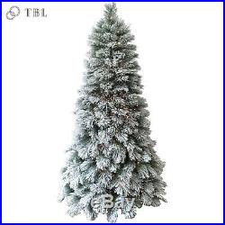 7.5ft Pre-Lit Flocked Artificial Holiday Christmas Tree with 450 Clear Lights