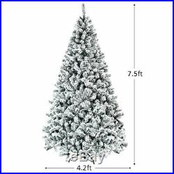 7.5ft Premium Snow Flocked Hinged Artificial Christmas Tree Unlit with Stand Decor