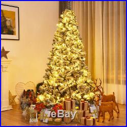 7.5ft Snow Flocked Christmas Tree with Stand Snowy White Xmas Artificial Decor