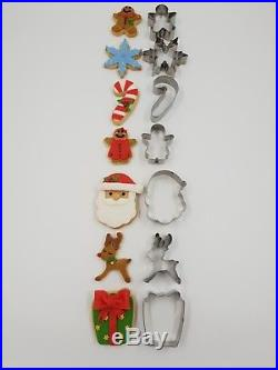 7 Christmas Cookie metal Biscuit cutters Santa snowflake reindeer Gingerbread