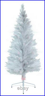 7′ Fiber Optic White Artificial Christmas Tree with Multi-Colored LED Lights
