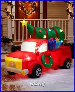 7 Ft Airblown Inflatable Lighted Red Truck with Tree Christmas Yard Decoration