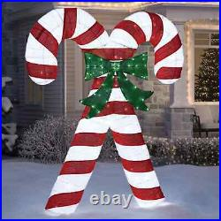7 Ft Tall LED Pre-Lit Holiday Candy Canes Indoor Outdoor Christmas Yard Decor