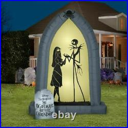7′ JACK SKELLINGTON & SALLY SILHOUETTE ARCH Airblown Inflatable NIGHTMARE BEFORE