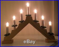 7 LIghtWooden Candle Bridge Christmas Lights WindowithMantlepiece Decoration/Mains