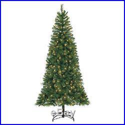 7′ Lansing Hard needle tree with786 tips, 300 warm white LED lights, diameter 40