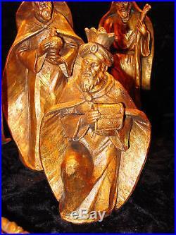 7 Pc Nativity Set/Dark Gold Resin Christmas Holiday Decoration New