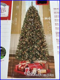 7' Pre-Lit Brookfield Cashmere Fir Quick Set Rotating Christmas Tree NEW