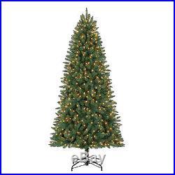 7′ Whitmore PE/PVC Pine Tree with1200 tips, 500 warm white LED lights, Diameter 40