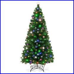 7 ft Christmas Tree Pine Pre-Lit Fiber Optic 270 UL-Certified 7-Color LED Lights