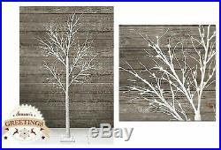 7ft 210cm Christmas White Twig glitter LED Light Tree Snowy floor standing gift
