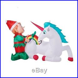 7ft Elf With Unicorn & Rainbow Christmas Inflatable Light Up Airblown New