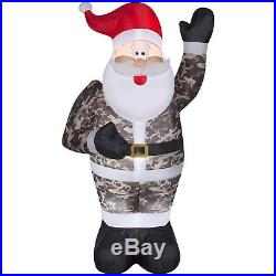 7ft Inflatable Santa Claus Camo Christmas Airblown Holiday Yard Decoration Light