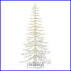 7ft Outdoor Christmas Twinkling Tree PreLit LED White Crystal Iced Holiday Decor