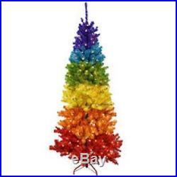 7ft Pre-Lit Multi Rainbow Christmas Tree 350 Clear Lights & Stand