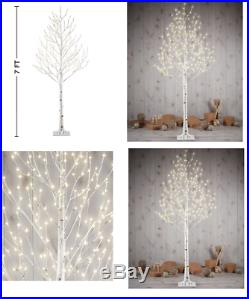 7ft tall 280 LED Faux Birch Twig Christmas Tree luxury Xmas Classic outdoor home