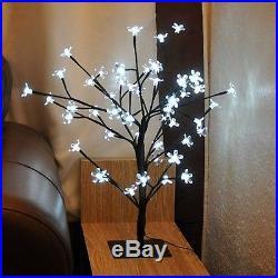 80cm Christmas White Blossom Light Up Bonsai Tree Table Decoration Festive In