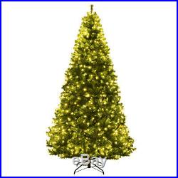 8Ft Artificial Christmas Tree Pre-Lit Hinged with 750 LED Lights & Stand Indoor