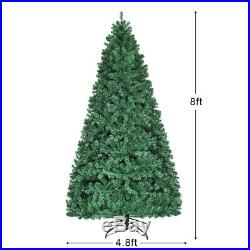 8Ft Pre-Lit Artificial Christmas Tree Hinged with 430 LED Lights Home Decoration
