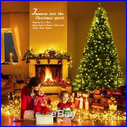 8Ft Pre-Lit Artificial Christmas Tree Premium Hinged with 750 LED Lights Indoor