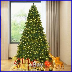 8Ft Pre-Lit Hinged Artificial Christmas Tree with 430 LED Lights & Stand Decor