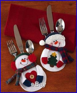 8PCS Santa Snowman Silverware Holder Pocket Holiday Party Christmas Home Decor